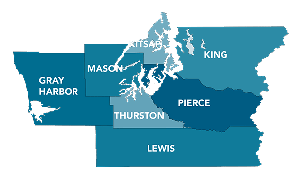 Map of local counties: Pierce, King, Thurston, Lewis, Mason, Kitsap, Gray Harbor