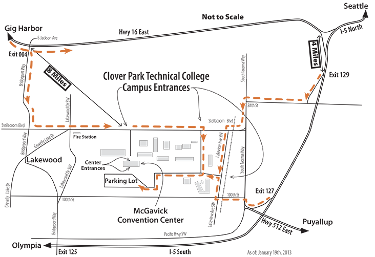 Map of Clover Park Technical College for Whiskers Wine and Dine event