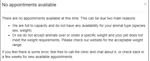 No Appointment message